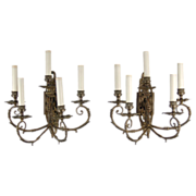 Antique French Bronze 5-light Electrified Wall Sconces
