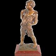 19th Century Patinated Bronze Sculpture Barefoot Neapolitan Boy Grisfelder