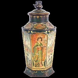 Antique Triumph German Art Nouveau Lithograph Tin Mechanical Tea Canister