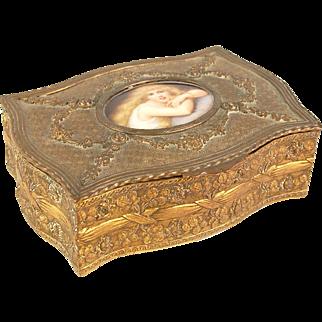 French Bronze Box Porcelain Miniature Portrait Long-Hair Beauty Coomans Sougeuse