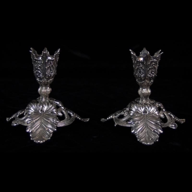 Pair Antique German .800 Silver Acanthus Leaves Candlesticks