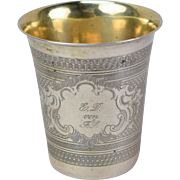 19th Century German Silver Parcel Gilt Beaker Engine Turned Decoration inscribed