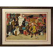 Illustrator Bruce Bomberger L/E Lithograph Antique Shop or Flea Market Signed