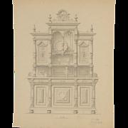 Antique German Draftsman Pencil Rendering Huntboard Furniture Design signed