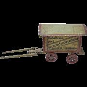 Antique German Folk Art Painted Wood Horse Drawn Railroad Wagon