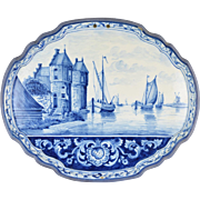 Large Antique Delft Plaque Hand Painted Stone House w Sailboats