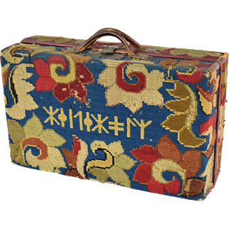 19th Century Russian Needlepoint Valise with Cyrillic Inscription