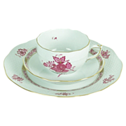 Vintage 3pc Herend Chinese Bouquet Cup Saucer Dessert Plate