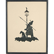 1941 Cut Paper Silhouette Viennese Night Watchman w Scruffy Dog Under Lamp Post