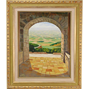 Vintage Nota Koslowsky Oil Painting View Through Stone Arch of Fertile Valley