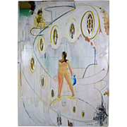 Massive Sculptural Surrealist Painting Nude Woman with Acrylic Jewels