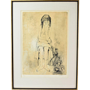 Seated Woman Holding Head in Her Hand signed Jean Leon Jansen L/E Lithograph