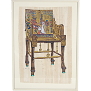Egyptian Oil Painting Tutankhamun Ankhesenamun Ancient Throne Chair
