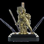 Desk Lamp 14k Nib Pen Set Bronze Athena in Battle w/Shield and Spear