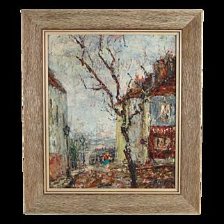 Mid-century Impressionist Oil Painting Girl in Skirt on European Street Signed