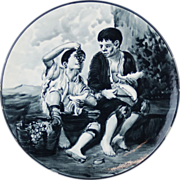 Vintage Hand Painted Majolica Charger Children Eating Fruit after Murillo
