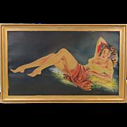 1940's Original Watercolor Painting Semi-Nude Bombshell Pin-Up sgnd Tadeusiak