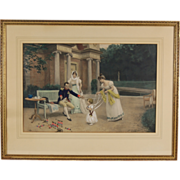 Hand Colored Lithograph 'Napoleon and His Child' by Jules Girardet