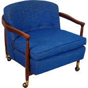 Mid-century Modern Teak Blue Upholstered Rolling Lounge Arm Chair