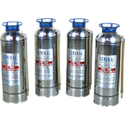 Set 4 Vintage General Chrome or Stainless Steel Soda Fire Extinguishers