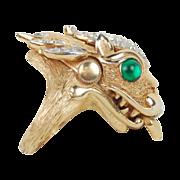 1960's Crown Trifari 'Something Wild' Collection Dragon Ring w Hidden Watch