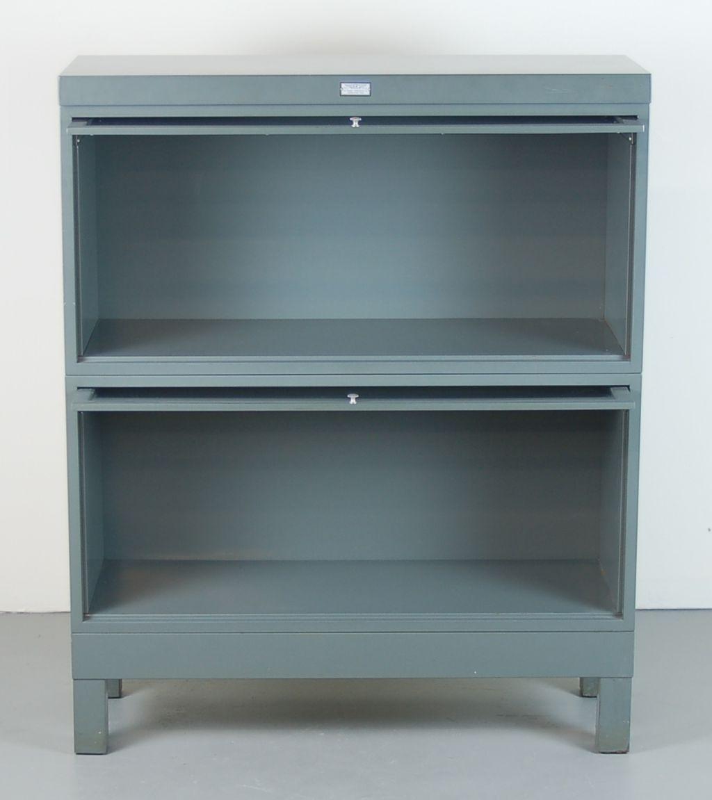 Steel Barrister Bookcase: Vintage Industrial Grey Steel Barrister Bookcase
