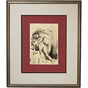 Vintage India Ink Watercolor Painting Nude Woman Holding Naked Man