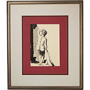 Vintage India Ink Watercolor Painting Backside of Nude Woman Holding Towel