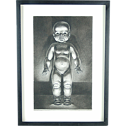 """""""Baby Doll"""" Charcoal Drawing by Kansas Artist Constance Ehrlich"""