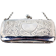 1917 Birmingham English Engraved Sterling Silver Coin Purse w Finger Chain