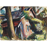 1940's Gouache Cabin In Woods Landscape Painting J.C. McPherson NYC Artist