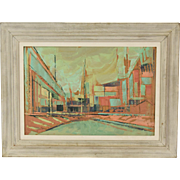 Parker Lee Mid-Century Modern Futuristic Abstract Cityscape Painting
