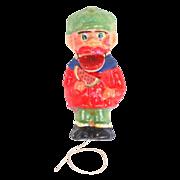 Black Americana Man Eating Watermelon Ornament Papier-mache Pull String Toy