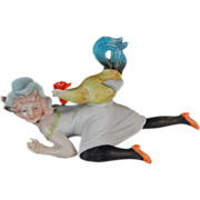 #1 Schafer & Vater Naughty Bisque Bathing Beauty Figural Decanter Lady w/ Rooster