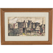 1954 Mid-Century Modern Abstracted City Scape Painting sgnd O'Dell