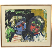Mid-Century Hilda Rubin Abstract Color Gouache Painting Boy and Girl