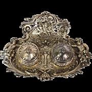 19th Century Storck & Sinsheimer German Silver Inkstand Cherubs Putti