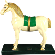 Large Carved Painted Wood Horse Sculpture Carousel Toy
