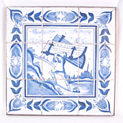 18th Century Delft Tile Picture Samson Carrying Gates of Gaza