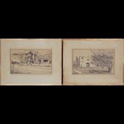 Pair 1940's Pencil Drawings Colorado Pueblo & St. Philip's Church Tuscon AZ