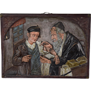 "Circa 1910 Czechoslovakia Terra Cotta Relief Plaque ""Laying Tefillin"" Judaica"
