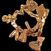 14K Gold Charm Bracelet Hallmarked