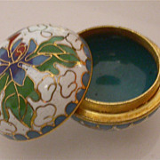 Asian Miniature Cloisonne Round Box