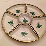 Herend  Hors D'Oeuvre Dish Green Chinese bouquet Pattern hallmarked