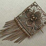 Antique Sterling Silver Filagree Rose Brooch