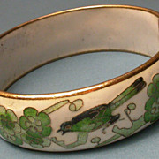 Chinese Cloisonne Hinged Bangle Bracelet