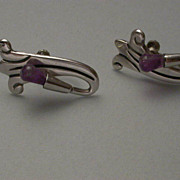 Early Taxco Sterling Silver & Amethyst  Screwback Earrings hallmarked