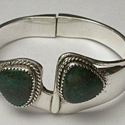 "Vintage Taxco Sterling Silver & Green Turquoise Hinged Bangle Bracelet Hallmarked   ""TL-8"