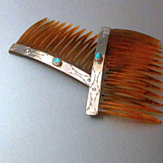 Vintage Turquoise Sterling Silver Hair Combs