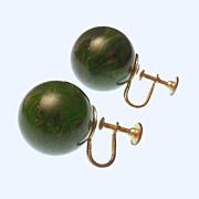 Bakelite Green Swirl Screwback Earrings